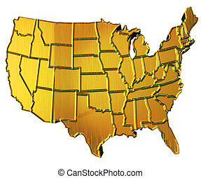USA map 3D gold with states - USA 3D Golden Map