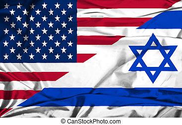 Waving flag of Israel and USA