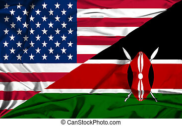 Waving flag of Kenya and USA
