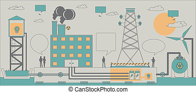 Power industry - Electric power industry with a gray...