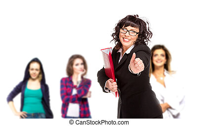 Cheerful senior business woman with friends behind him giving thumb up, isolated on white