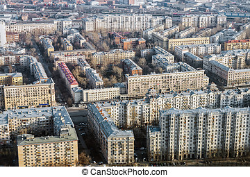 old quarters Stalinist buildings in Moscow - old quarters...