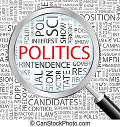 POLITICS Word cloud illustration Tag cloud concept collage...