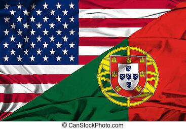waving, bandeira, PORTUGAL, EUA