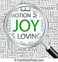 JOY. Background concept wordcloud illustration. Print...