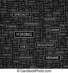 HIRING. Seamless pattern. Word cloud illustration.