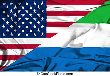 Waving flag of Sierra Leone and USA