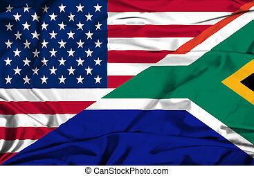 Waving flag of South Africa and USA