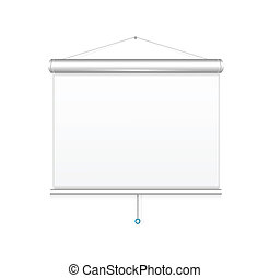 Blank roll up poster template, vector display on white...