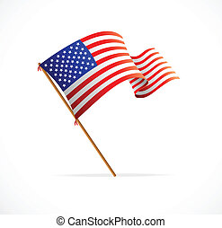 Vector waving American Flag (Flag of USA) - Waving American...