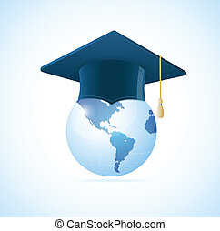 Vector Earth planet with graduation cap concept