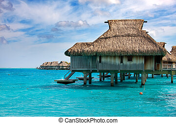 houses on piles on sea Maldives