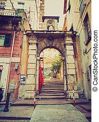 Retro look Genoa old town