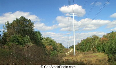 Power Lines Time Lapse - Time lapse of power lines with...