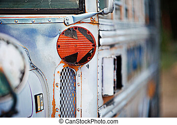 Old School Bus - Close up detail of an old school bus