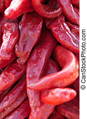 Hatch Chilis - Red hot chilis piled up after harvest