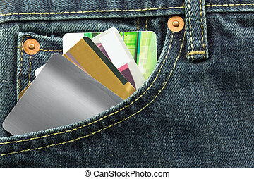 blank credit cards in jeans pocket - blank credit cards in...