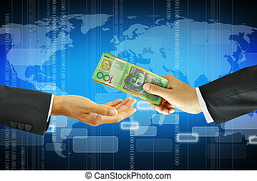 Businessman hands giving money - Australian dollars