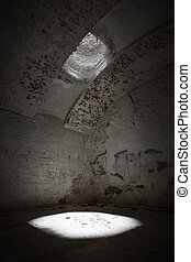 skylight window in an old limestone quarry ceiling, poor...