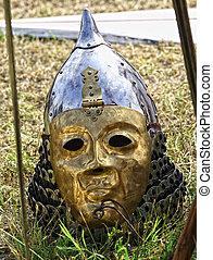 golden helmet - close up of ancient golden helmet background