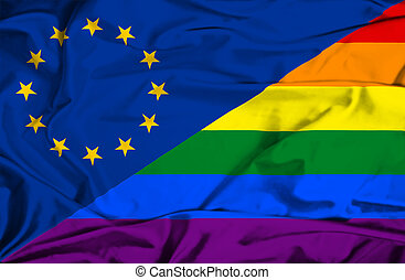 Waving flag of Pride and EU