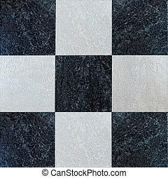Tiled floor background. Black and white checkered tiles