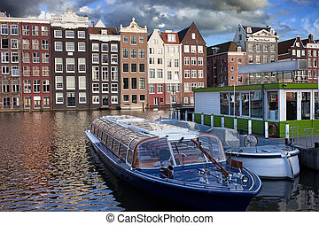 Old Town of Amsterdam in Netherlands - Picturesque Old Town...