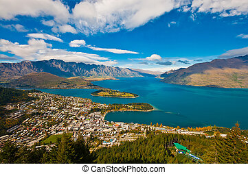 aerial view Queenstown downtown skyscraper