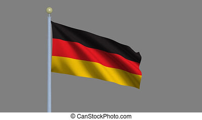 Flag of Germany with alpha matte - Flag of Germany waving in...