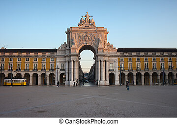 Rua Augusta Arch at Sunrise in Lisbon - Rua Augusta Arch at...