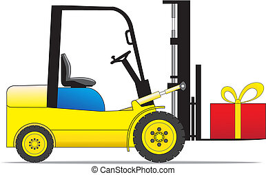Forklift loader with present box