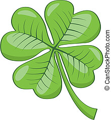 Four leaf clover - Vector illustration of green four leaf...