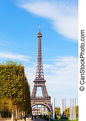 Paris, the Eiffel Tower in sunny autumn day