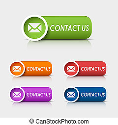Colored rectangular web buttons contact us vector eps 10