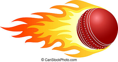 Flaming cricket ball - Illustration of ball in fire for your...
