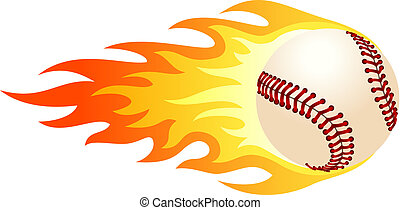 Flaming baseball - Illustration of ball in fire for your...