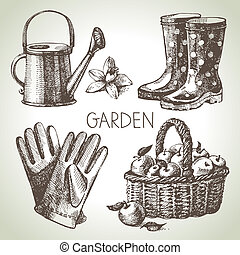 Sketch gardening set. Hand drawn design elements