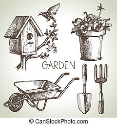 Sketch gardening set Hand drawn design elements