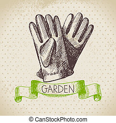 Vintage sketch gardening background Hand drawn design