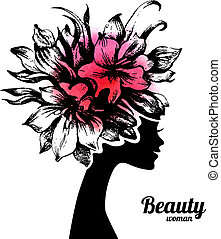 Beautiful woman silhouette with flowers Hand drawn sketch...