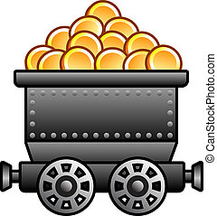Iron mine cart with coins for your designs.