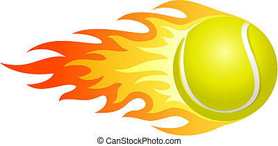 Flaming tennis ball - Illustration of ball in fire for your...