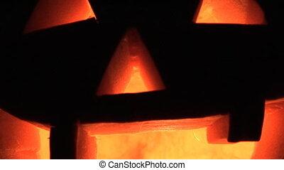 Jack O\'Lantern - Carved, lit, Halloween pumpkin smiley...