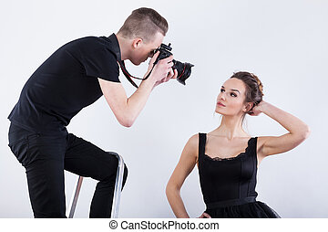 Movie star during photosession for women's magazine
