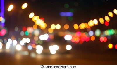 Night city lights and traffic background. - City at night...