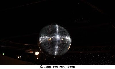 Disco ball and lights,on black background