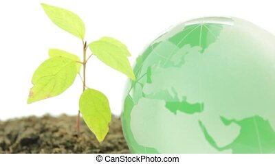 Green world on white background