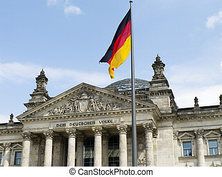 Rechstag with Germany flag in Berlin