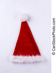 Red and white Santa hat on white background - Red and white...