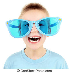 Kid in Big Glasses - Funny Boy in Big Blue Glasses Isolated...